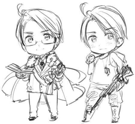 """Axis Powers Hetalia-Another Color! (Commonly referred to as 2P designs)- Possible design for 2P America? """"America in 2013 sketches titled """"2syokunoamerica,"""" grouped with the sketches with 2p titles."""" """"Needing-friends Russia. Persevering Russia. Scarf-is-no-longer-needed Russia. The Allied Forces are difficult.""""-Hidekaz Himaruya's blog translation from http://bamboothicket2.livejournal.com/tag/2p"""