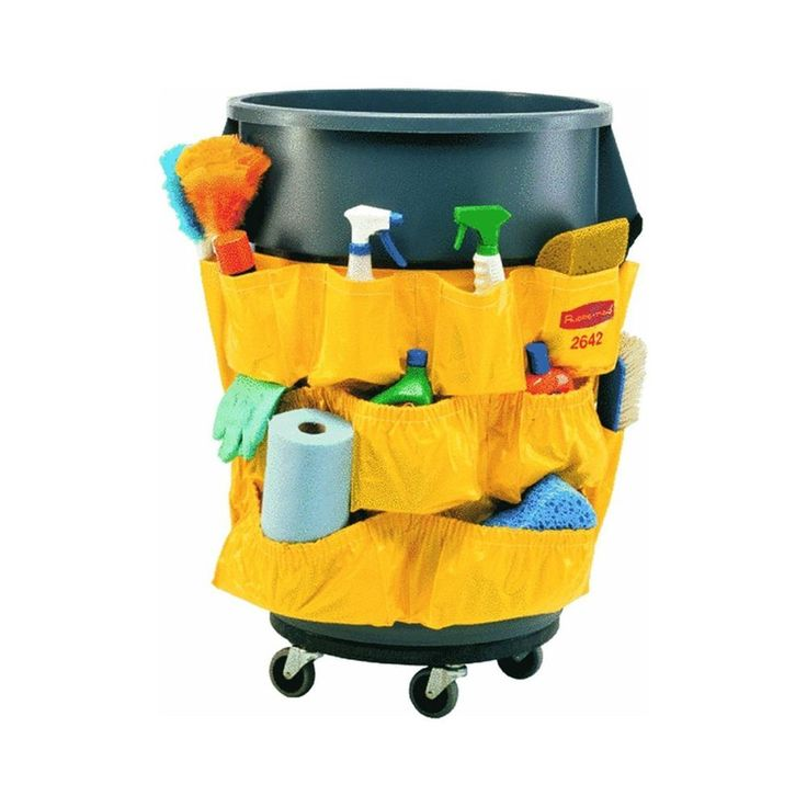 Janitorial Caddy Bag Double Rubbermaid Yellow Storage Cleaning Cart NEW  #Rubbermaid