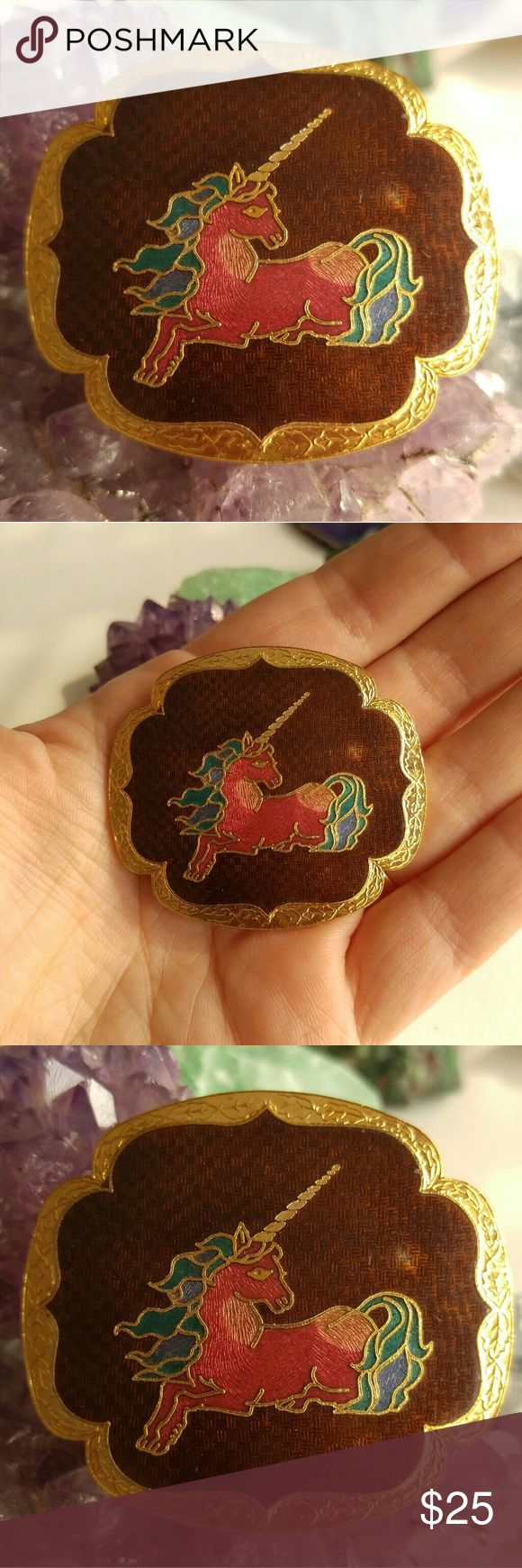 Vintage Unicorn Cloissone enamel bolo clip pendant This is a gorgeous vintage bolo tie pendant or belt clip! It is made of weighty gold tone metal with lovely Cloissone enamel work. An image of a unicorn is done in pink, teal green, and brown enamel. It is in very good shape with some wear to the enamel. From a smoke free home. Offers welcome:)  KeyF8188rose6n8m Vintage Jewelry Necklaces