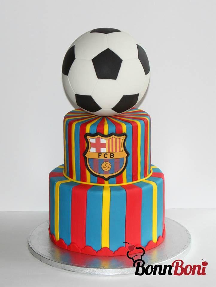 Messi FC Barca Soccer ball cake - Emblem printed image :)