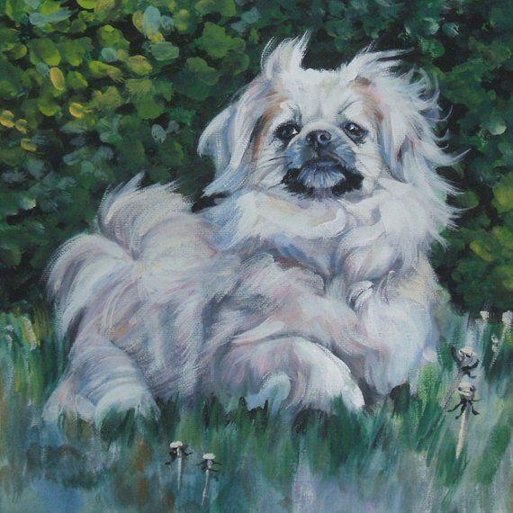 Tibetan Spaniel Dog Art Canvas Print Of La Shepard Painting 12x12
