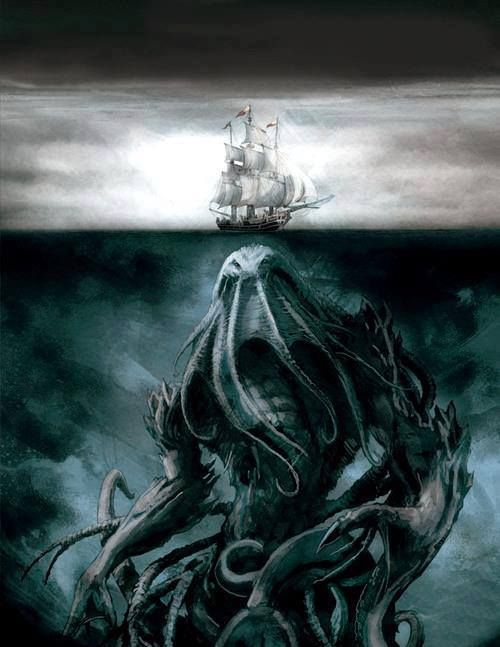 Lovecraft's ancient horror, imprisoned and yet still potent enough to give mankind nightmares. Now that's a monster. Cthulhu!