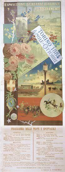 Esposizione Generale Italiana Torino 1884. Aprile – Ottobre. Programma delle feste e spettacoli. Manifesto (Archivio Storico Amma, Città di Torino)