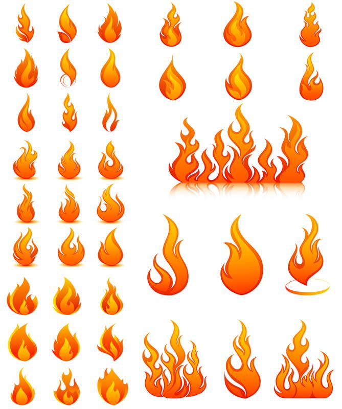 "5 Sets with 40 vector flame templates and spurts of flame for your graphic designs. Format: EPS stock vector clip art and illustrations. Free for download. Set name: ""Flame templates vector"" for Adobe Illustrator. Theme tags: vector fire illustrations, flame."
