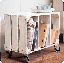 Paint/ stain a pallet crate with an antique finish and just add dividers and wheels! how cute!