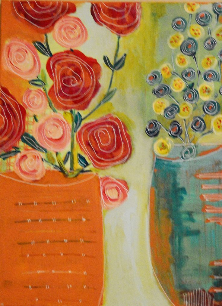 "Two Vases is an original, mixed-media painting. 18"" x 24"" x 1.5"". Two vases is an original, one-of-a-kind painting. It was created with acrylic paint and all hand-drawn detailing. Bright, bold. Will add cheeriness to any room! Sides are painted so no need for a frame. Signed and dated. Ready to hang."