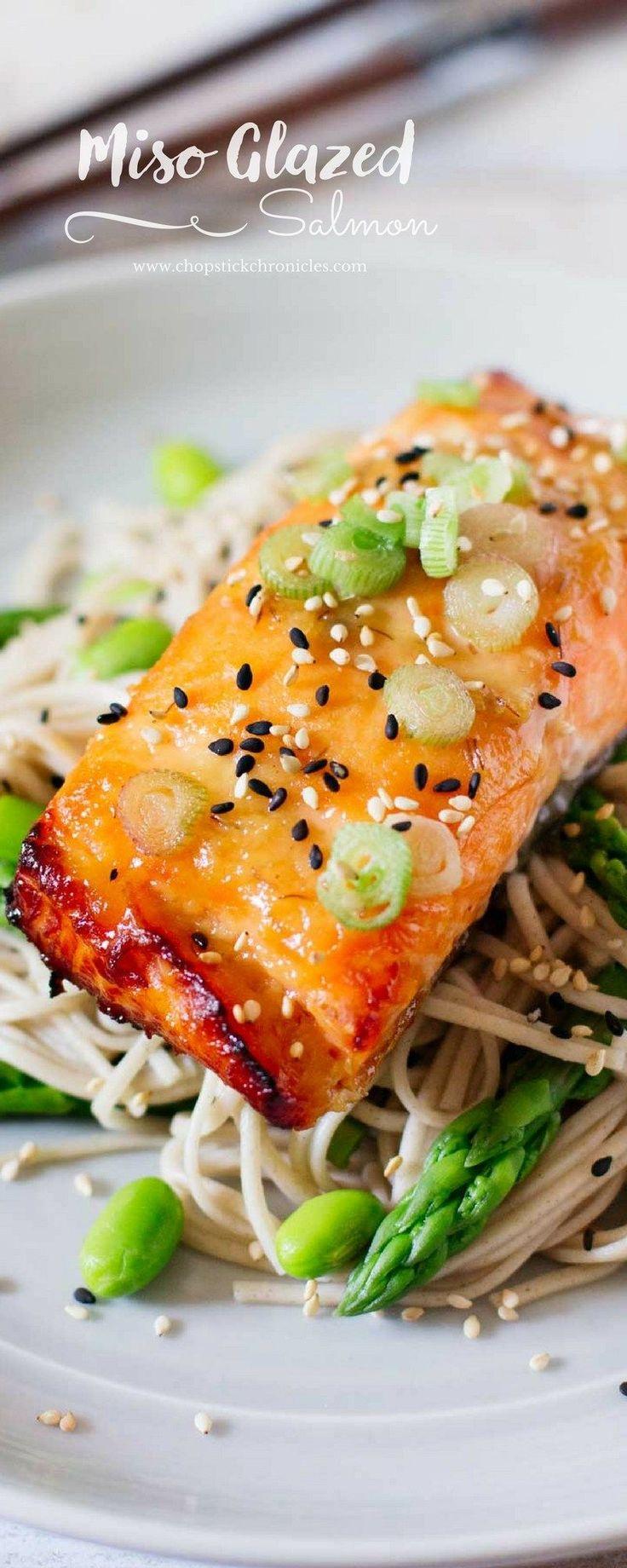 Miso Glazed Salmon #seafoodrecipes