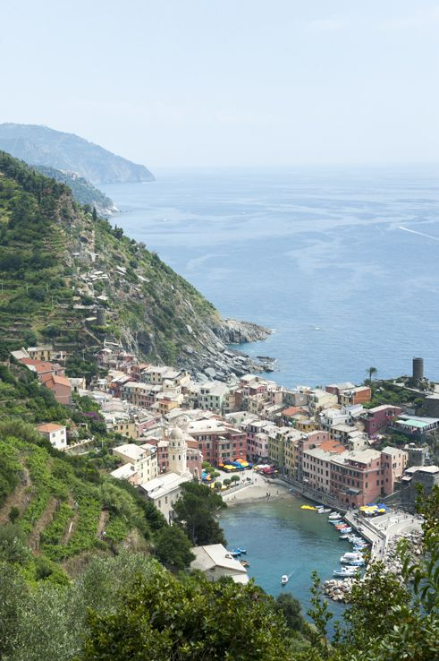 Cinque Terre by train - Vernazza from Above. Tour the Cinque Terre by foot and train!