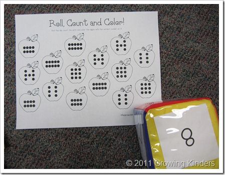 dot configuration on page, roll dice, color an apple on page with that number of dots; could switch this around and do cards with dot configurations and write the number