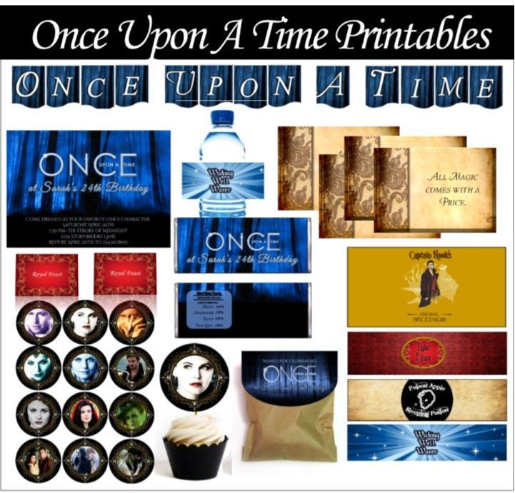 Once Upon a Time Party ideas, printables, and games for a OUAT theme. Includes invitations, decorations, cupcake toppers, banner, favor wrappers, bottle labels, game ideas!