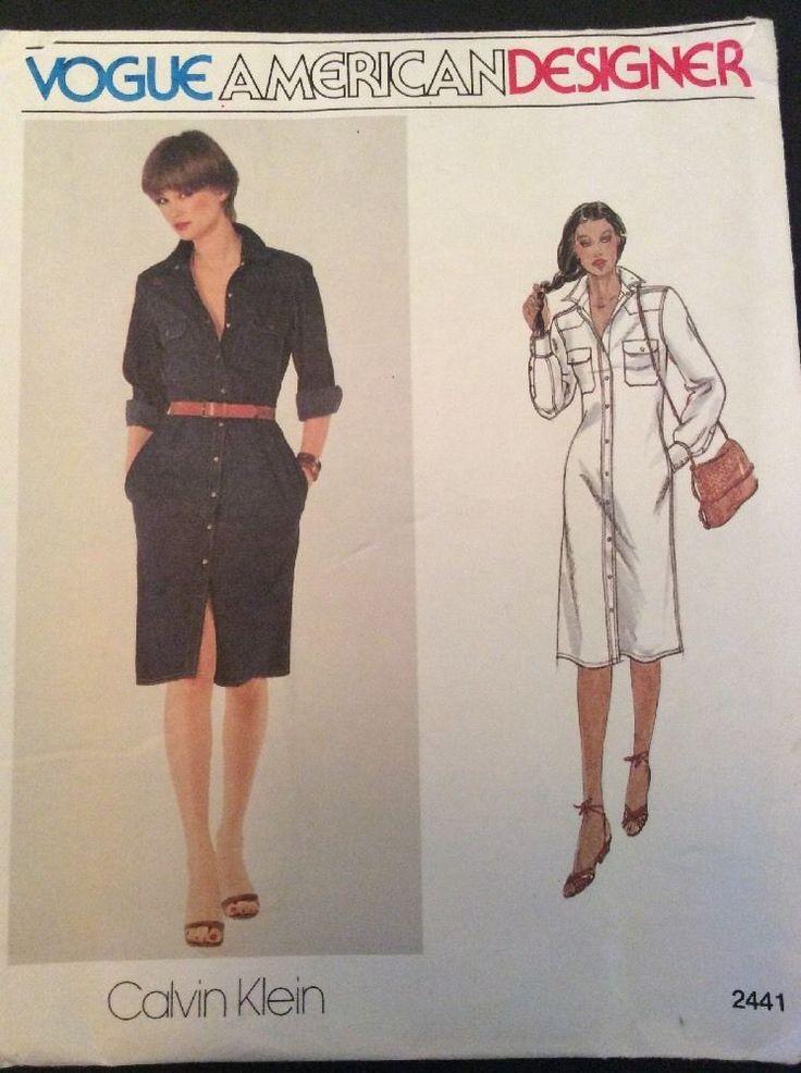 Vogue Sewing Pattern 2441 Vtg Calvin Klein Dress 8 Semi Fitted A Line FF #VoguePatterns