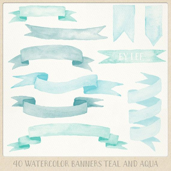 Watercolor clipart ribbons and banners 40 pc mint teal ...