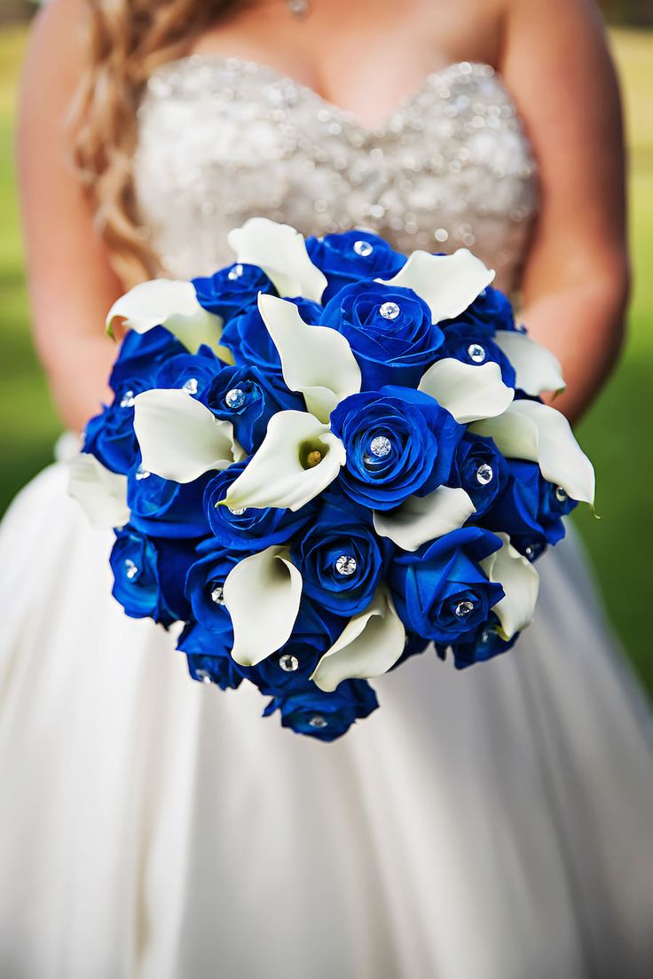 Strapless, Sweetheart Ivory Bridal Wedding Gown with Crystal Rhinestone Bodice and Royal Blue and Ivory Wedding Bouquet
