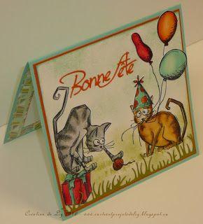 """Cartes artisanales et autres projets artistiques de Liz: 2 cartes d'anniversaire avec des """"Crazy"""" personnages de Tim Holtz"""