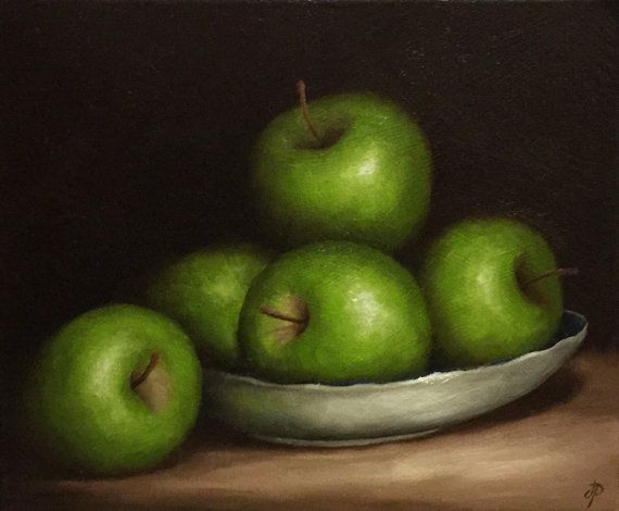 Green Apple dish Original Oil Painting still life by JanePalmerArt