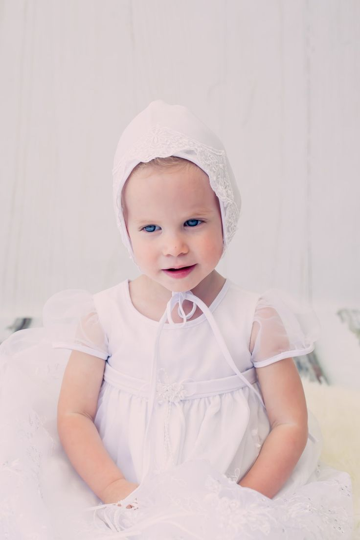 White Christening dress with see through puff sleeves and matching bonnet | Bisou Baby #babydress #christening #outfit #babydress #specialbaby