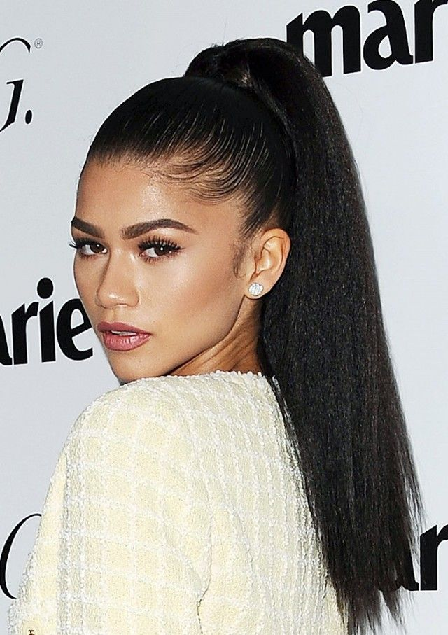 Zendaya's bold brows and high ponytail are so gorgeous