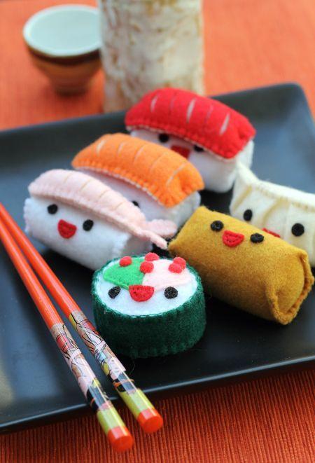 sushi plush plushie felt - could possibly needle felt felted felting woolfelt makizushi nigiri inarizushi