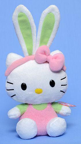 Hello Kitty, (Easter, green ears) - Ty Beanie Babies