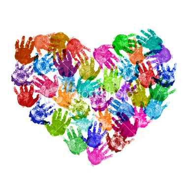 Hand print art Handprint crafts-- An easy way to do this would be to cut out a large heart-shaped piece of cardstock and have your class dip their hand once in paint and then put their hand print on it.
