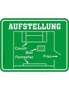 Blechschild Aufstellung Spruchschild grün-weiss 17x22cm. Aus der Kategorie Sprüche Schilder. Nicht nur auf dem Platz, sondern auch im heimischen Wohnzimmer ist die richtige Aufstellung von immenser Bedeutung! Das lustige Fußball-Blechschild ist ein tolles Männergeschenk für die EM und ein schickes Wandschild für Fußball-Fans!
