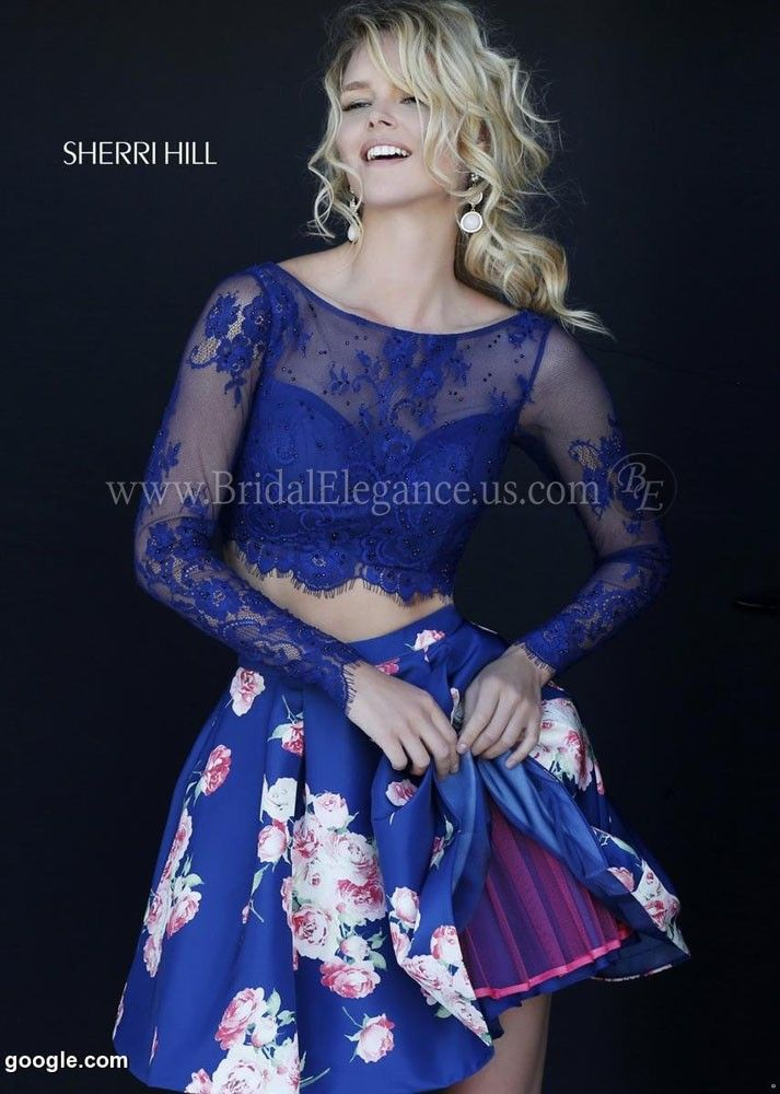 Lace & Floral Two Piece Homecoming Dress | Sherri Hill 32323 | Bridal Elegance