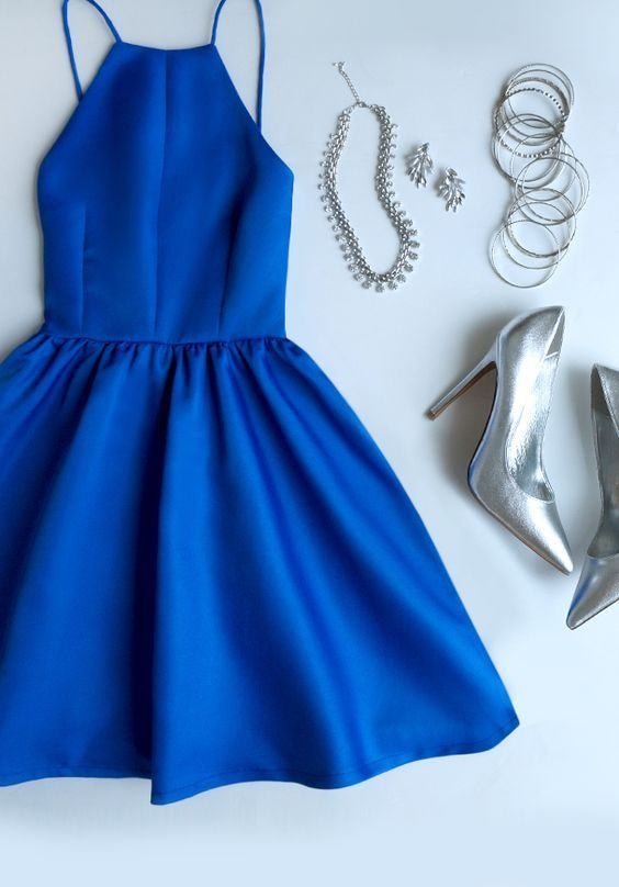 Navy Blue And Silver Royal Dress-homecoming dress-royal blue outfit-cocktail dress-
