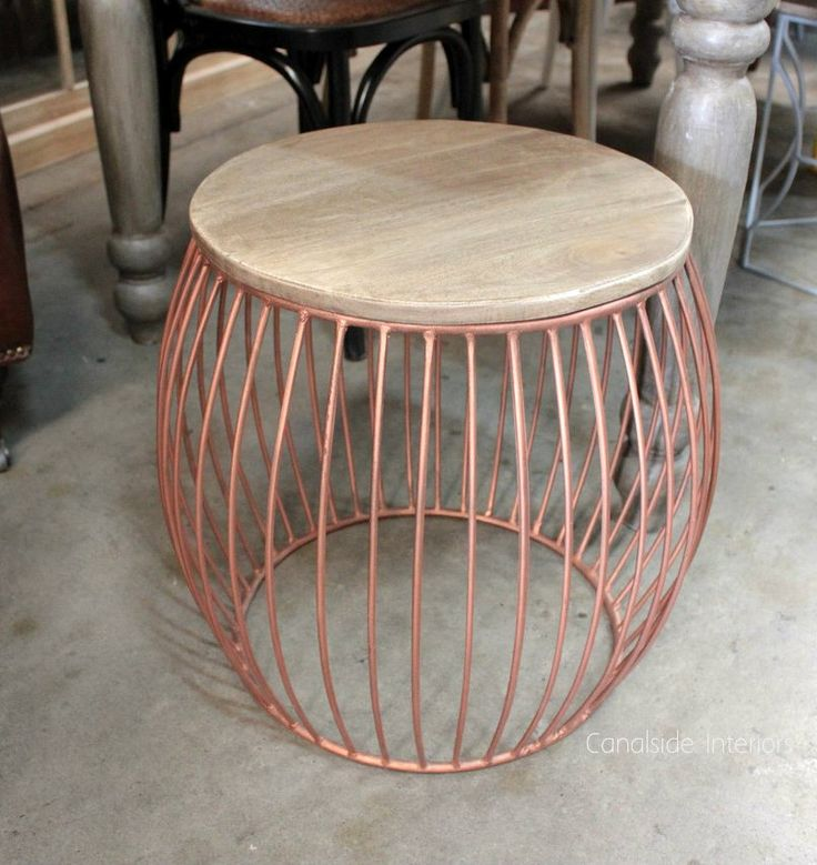 Cabana Side Table / Stool - Distressed Copper - Canalside Interiors