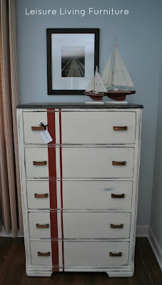 Striped dresser in Old White and Emperor's Silk - love the stripe!  From: http://leis-leisureliving.blogspot.com/2012/06/red-stripes-dresser-makeover.html