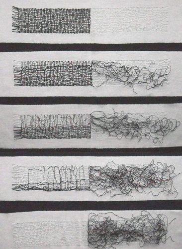 Gail Baxter  Size: 140 x 70 cm  Material: Waxed linen thread, cotton fabric  Date: 2009