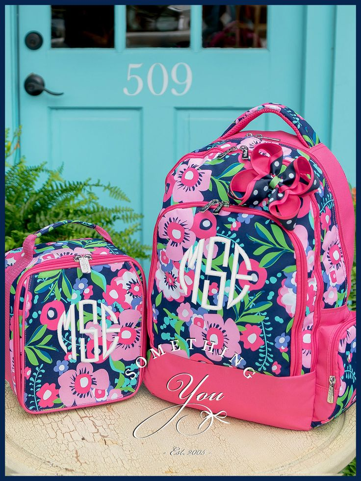 Something You - Posie Gift Set of 3 - Monogrammed Backpack, Lunchbox and Hairbow, $67.85 (http://www.somethingyou.com/bags-totes/backpacks-and-lunchboxes/patterns/posie-gift-set-of-3-monogrammed-backpack-lunchbox-and-hairbow/)