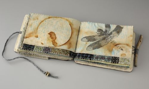 Sharon McCartney - mixed media Coptic bound book with printed and embroidered pages