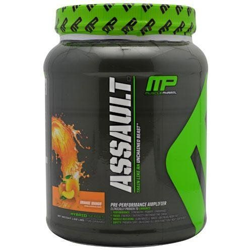 MusclePharm Assault Orange Mango 32 Servings by MusclePharm Assault. $30.79. Demand a clinically proven pre-workout formula. MusclePharm Assault is the most researched pre-workout out there because we are a company of athletes. We want to feed our bodies the best and pass our expertise on to other athletes. Multiple studies prove that 1 serving helps increase strength, aerobic and anaerobic performance. Assault meets NSF and Informed Choice product standards and is safe for ...