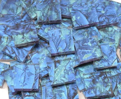 NEW COLOR! Blue & Bluegreen Van Gogh Stained Glass Mosaic Tiles - Mosaic Tile Mania