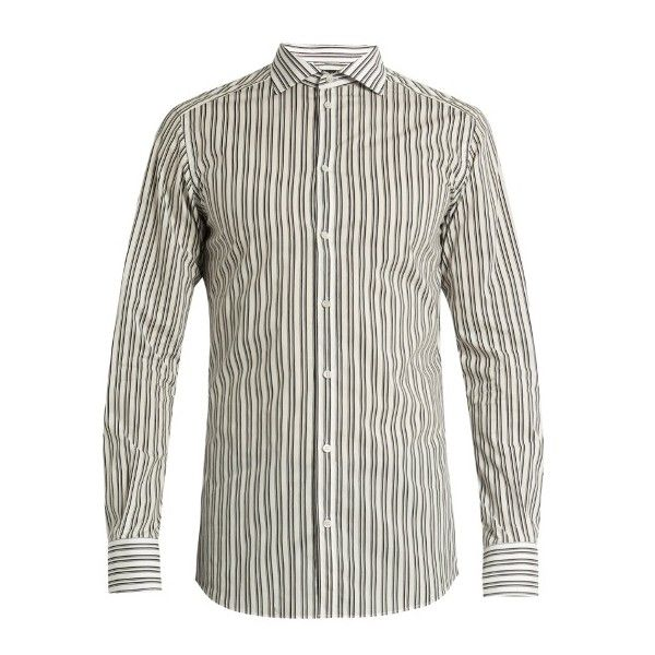 Dolce & Gabbana Gold-fit striped cotton-poplin single-cuff shirt ($545) ❤ liked on Polyvore featuring men's fashion, men's clothing, men's shirts, men's dress shirts, mens french cuff dress shirts, mens slim shirts, mens gold shirt, mens french cuff shirts and mens holiday shirts