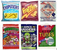 retro crisps - chipsticks, frazzles, tubes, monster munch, space raiders