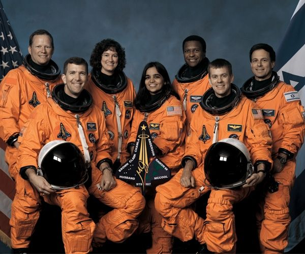 Crew members of the fateful final flight of the Columbia were (left to right) David Brown, Commander Rick Husband, Laurel Blair Salton Clark, Kalpana Chawla, Michael Anderson, William McCool, and Ilan Ramon.