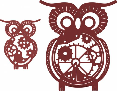 """CHEERY LYNN DESIGNS - STEAMPUNK B383 - OWLS WITH GEARS Her får du 2 stk ugler i ulike størrelser   Size: Large owl - 2 5/8"""" x 2 1/4"""" (67mm x 57mm)Small owl - 1 1/8"""" x 1 1/2"""" (26mm x 38mm)Combined size - 3 3/8"""" x 2 5/8"""" (86mm x 67mm) Wise and whimsical, this pair of owls will inspire the most solemn soul to smile. Hoo can resist these two?"""