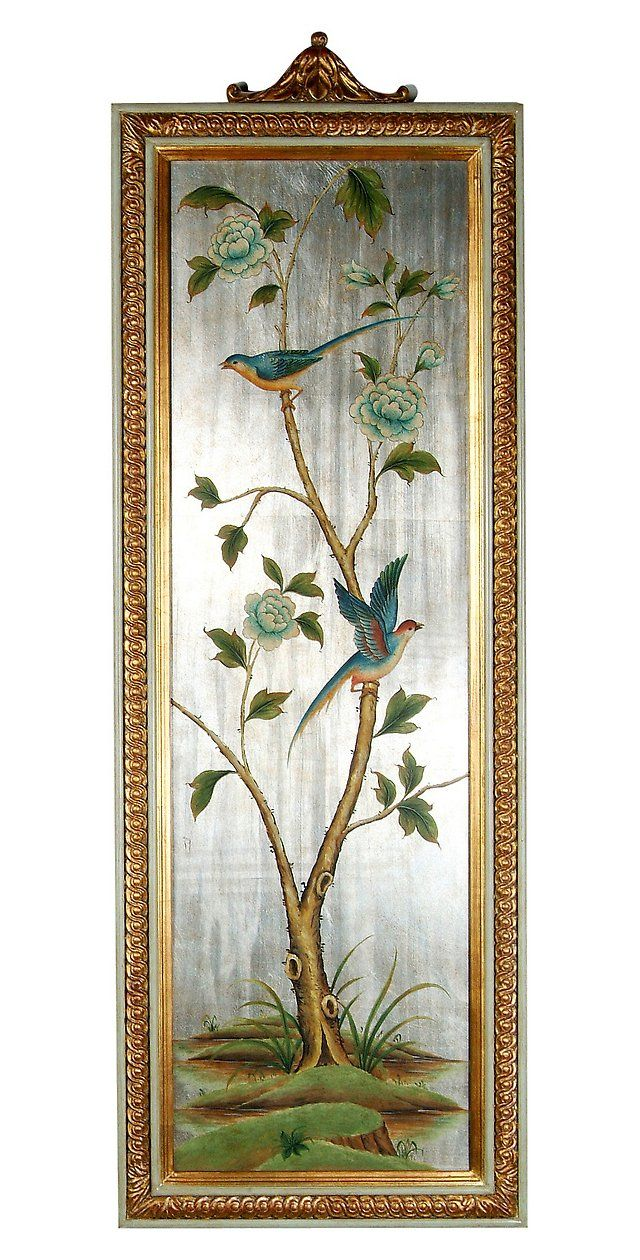 Williams sonoma home five panel beveled mirror - French Bluebird And Peony Panel Right Bradburn Home Brands