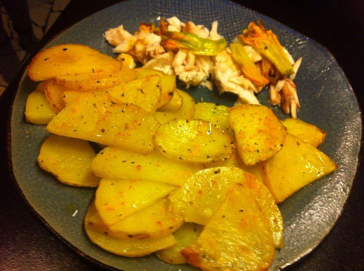 Orata ai fiori di zucca con patate