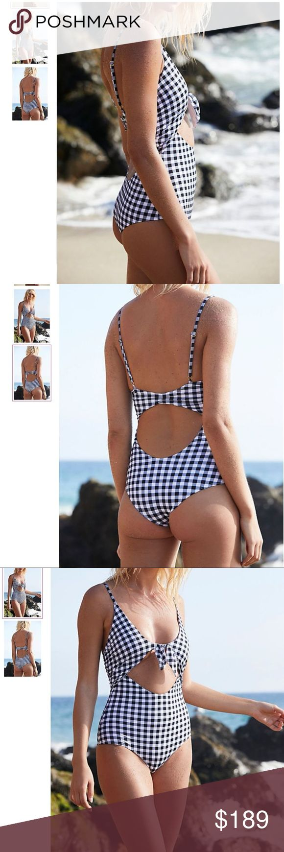 RARE Beach Riot Gingham One-Piece Brand New American made gingham printed one-piece swimsuit featured in a retro-inspired silhouette.  Cutout detailing in front and back Sweet tie detailing Adjustable straps Cheeky bottom coverage Lined Care/Import Hand Wash Cold  Made in the USA  Reformation, Marysia, Free People for Exposure Beach Riot Swim One Pieces