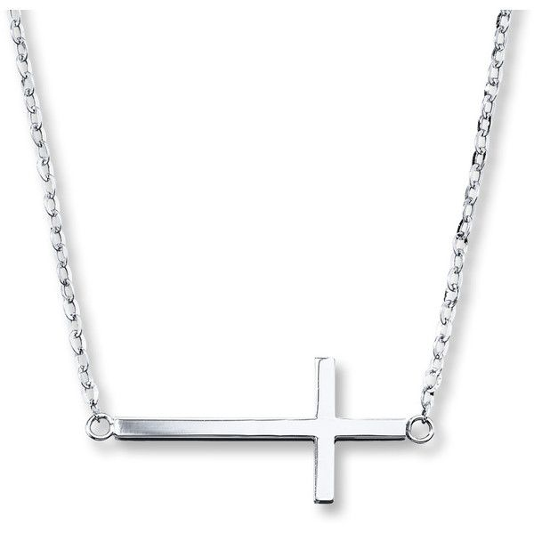 Sideways Cross Necklace Sterling Silver (79 BRL) ❤ liked on Polyvore featuring jewelry, necklaces, sterling silver side cross necklace, sterling silver jewellery, cross chain necklace, sterling silver cross necklace and cross jewelry