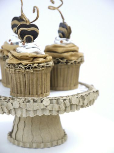 Paper food sculptures Mini Cupcakes With Chocolate Cherries On A Silver Stand, $130.00