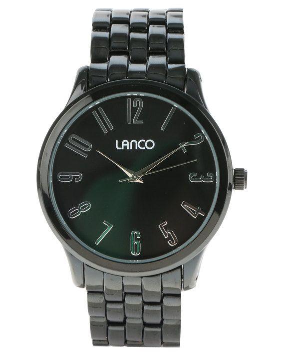 Lanco Round Dial Metal Strap Watch Black