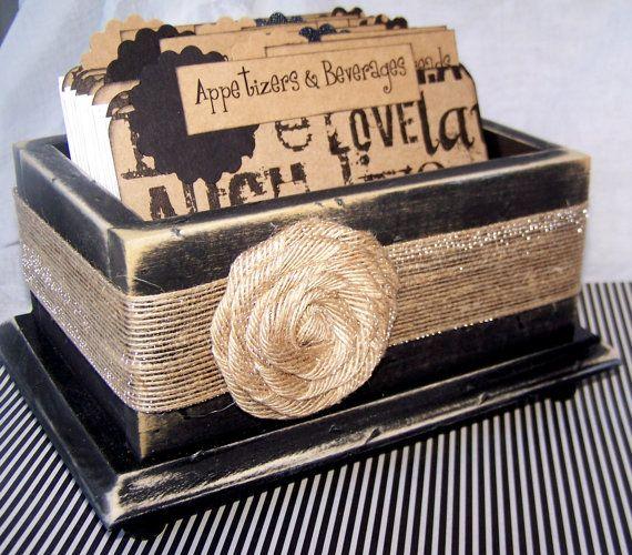 Recipe Box - Live, Love, Laugh Kraft Paper Dividers, 4 x 6 Recipe Cards - Distressed Black Recipe Box, Burlap Ribbon, Rosette