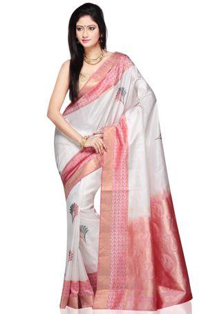 White Pure Kanchipuram Handloom Silk Saree with Blouse