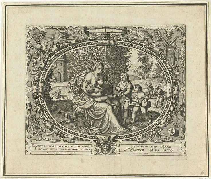 Gerard P. Groenning | De mens op tienjarige leeftijd, Gerard P. Groenning, 1569 - 1575 | In een ovaal kader versierd met ornamenten een voorstelling van een moeder die haar kind de borst geeft. Naast haar twee andere kinderen. Een van hen laat haar iets lezen uit een boek, terwijl de andere op een trommel slaat. In de achtergrond spelen kinderen spelletjes. De prent heeft een Latijns en Frans onderschrift.