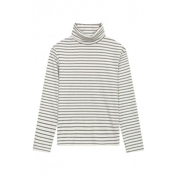 Women's Basic High Neck Long Sleeve Casual Striped Print Oversize Tee (7.355 HUF) ❤ liked on Polyvore featuring tops, t-shirts, striped long sleeve t shirt, oversized long sleeve t shirt, long t shirts, long white t shirt and long sleeve tees
