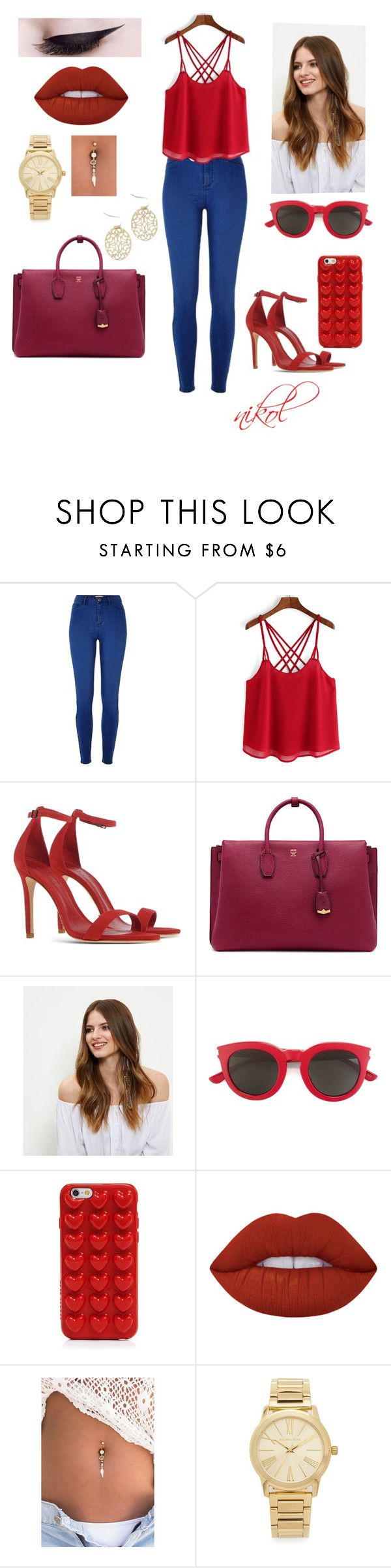 """Untitled #239"" by nikolcherni ❤ liked on Polyvore featuring River Island, Schutz, MCM, New Look, Yves Saint Laurent, Marc Jacobs, Lime Crime and Michael Kors"