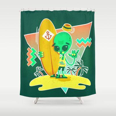 Alien Surfer Nineties Pattern Shower Curtain by chobopop - $68.00